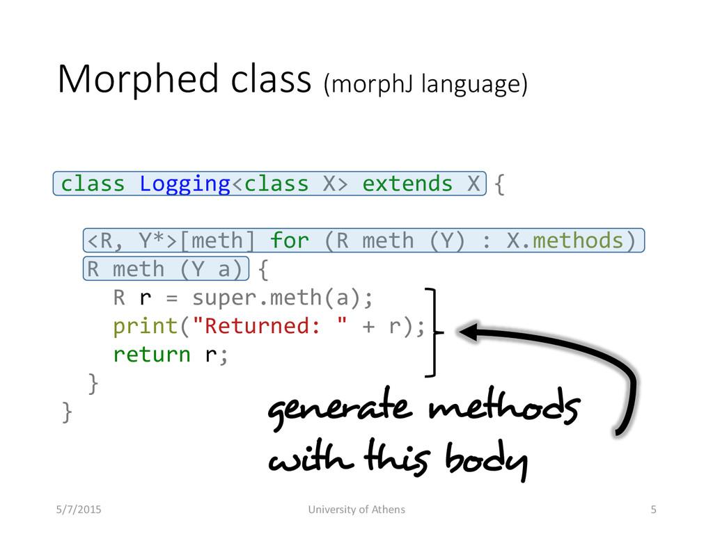Morphed class (morphJ language) class Logging<c...