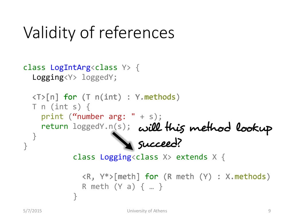 Validity of references class LogIntArg<class Y>...