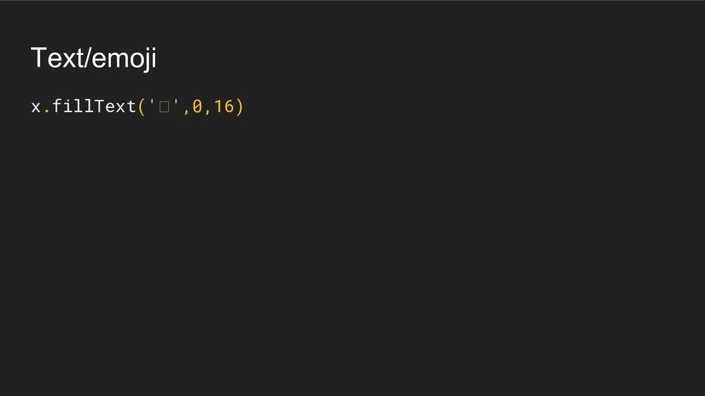 Text/emoji x.fillText(' ',0,16)