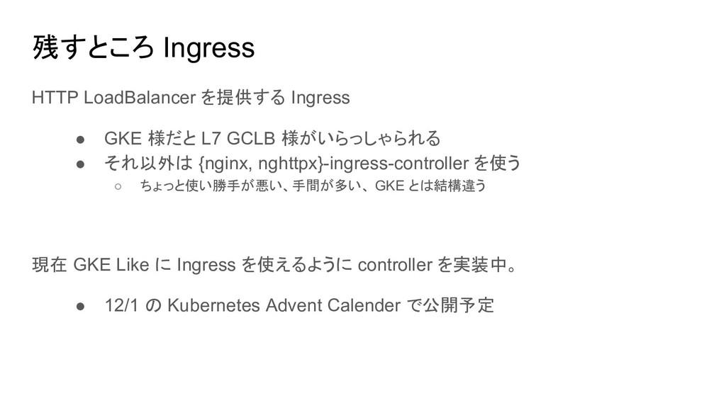 残すところ Ingress HTTP LoadBalancer を提供する Ingress ●...