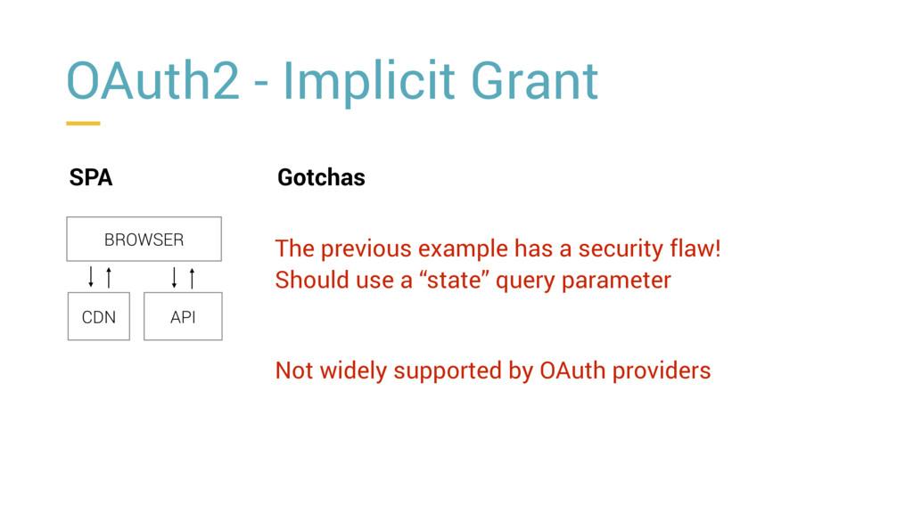 OAuth2 - Implicit Grant SPA BROWSER CDN API Got...