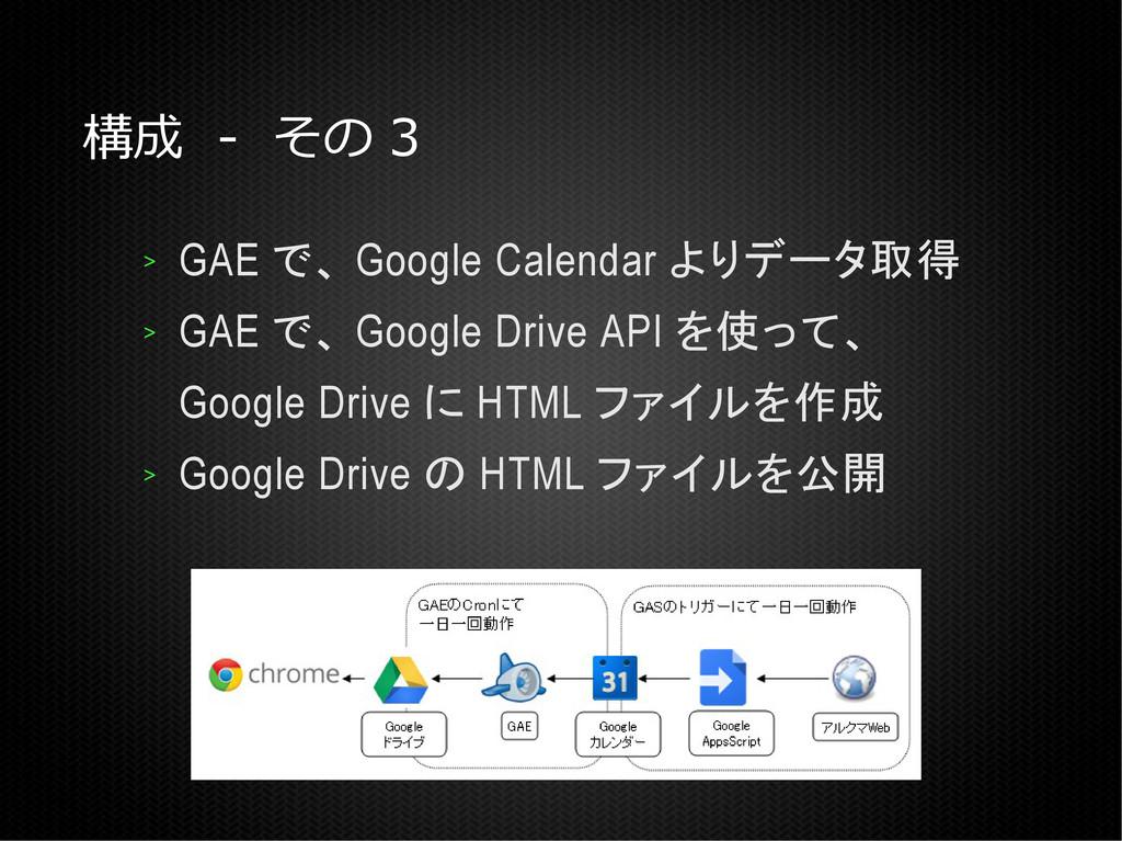 構成 - その 3 > GAE で、 Google Calendar よりデータ取得 > GA...