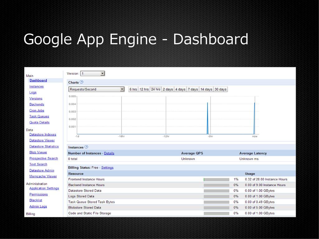 Google App Engine - Dashboard