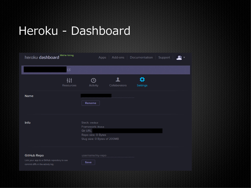 Heroku - Dashboard