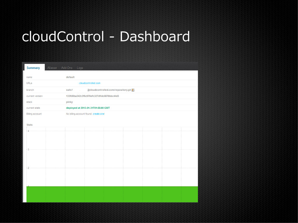cloudControl - Dashboard