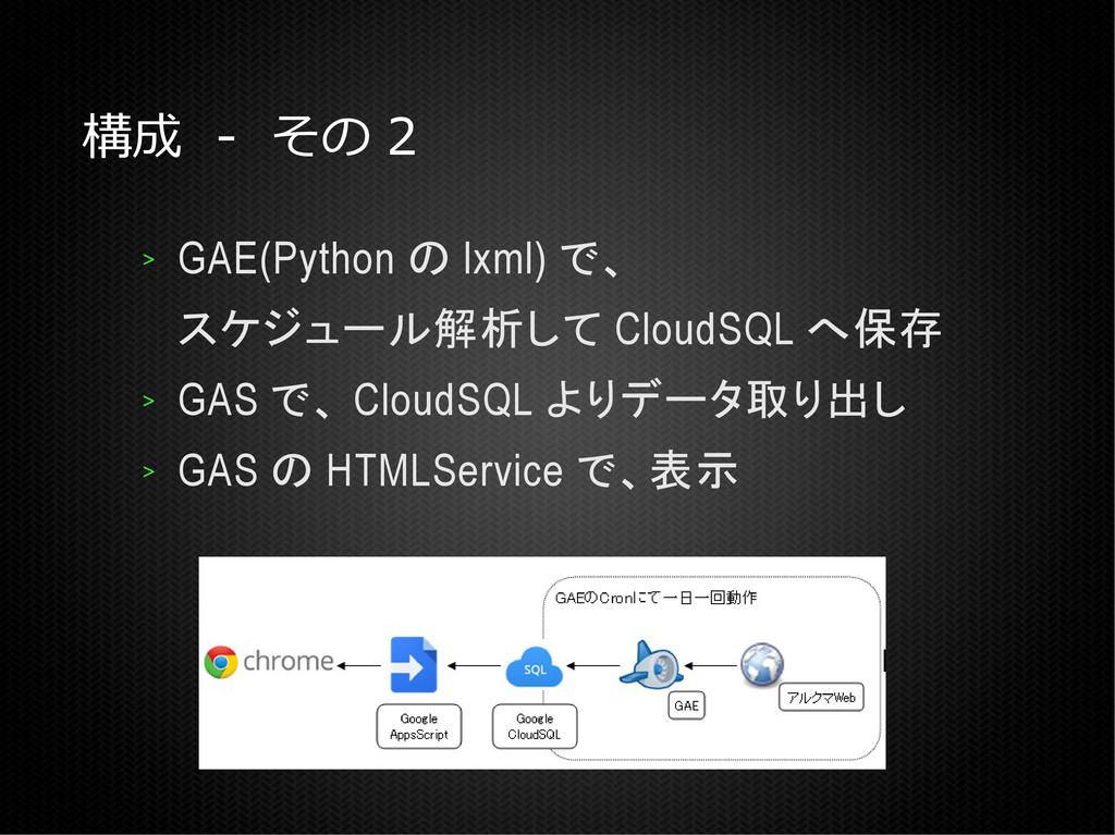 構成 - その 2 > GAE(Python の lxml) で、 スケジュール解析して Cl...