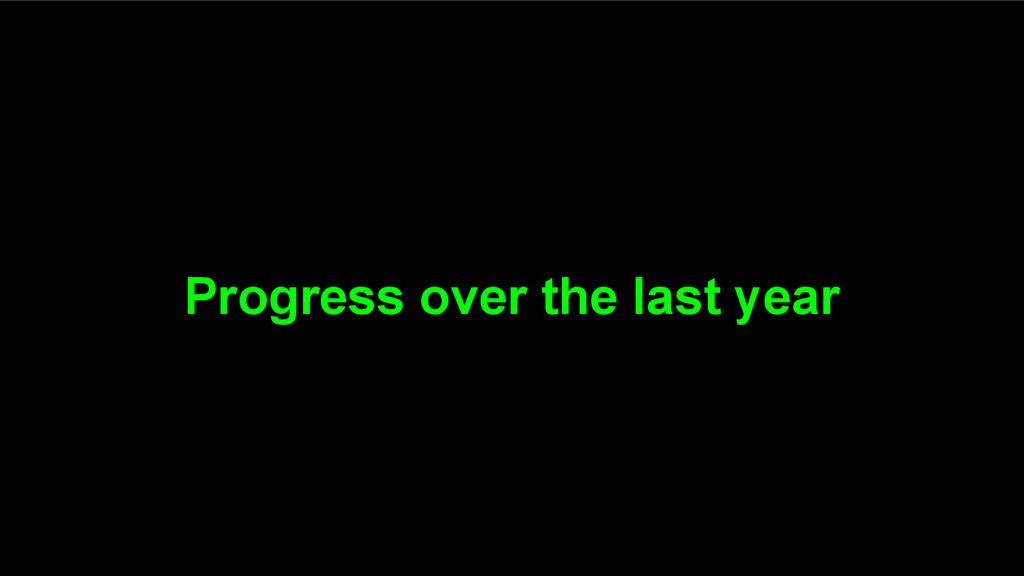 Progress over the last year