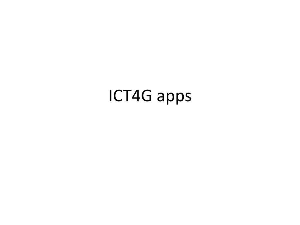 ICT4G apps