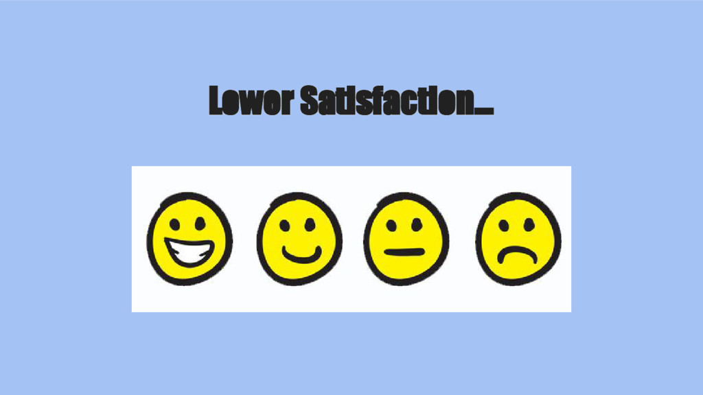 Lower Satisfaction...