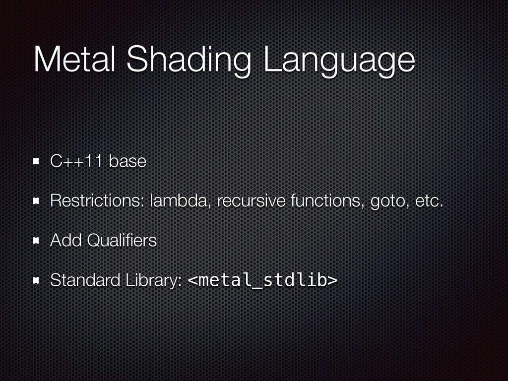 Metal Shading Language C++11 base Restrictions:...