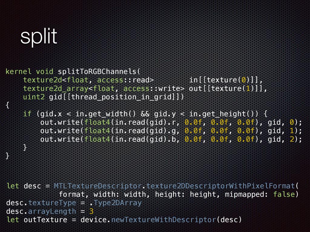 split kernel void splitToRGBChannels( texture2d...