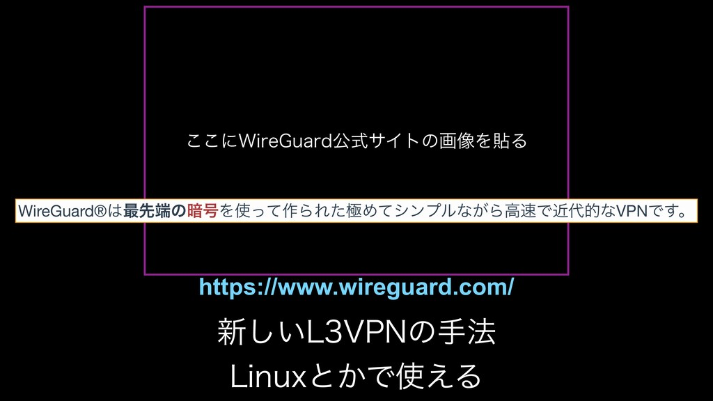 ͜͜ʹ8JSF(VBSEެࣜαΠτͷը૾ΛషΔ WireGuard®࠷ઌͷ҉߸Λͬͯ࡞Β...