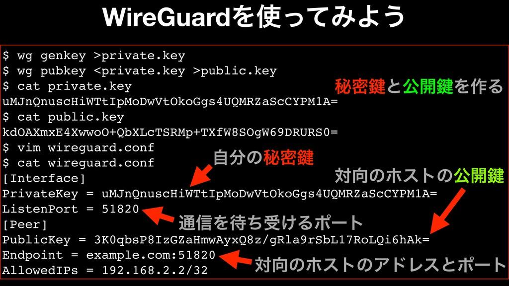 WireGuardΛͬͯΈΑ͏ $ wg genkey >private.key $ wg ...