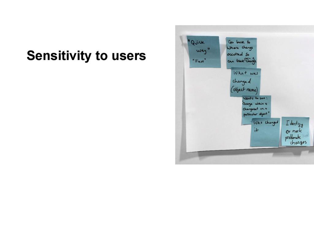 Sensitivity to users