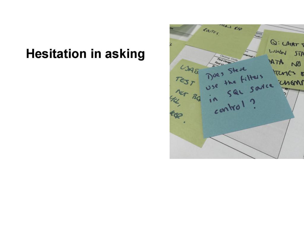 Hesitation in asking