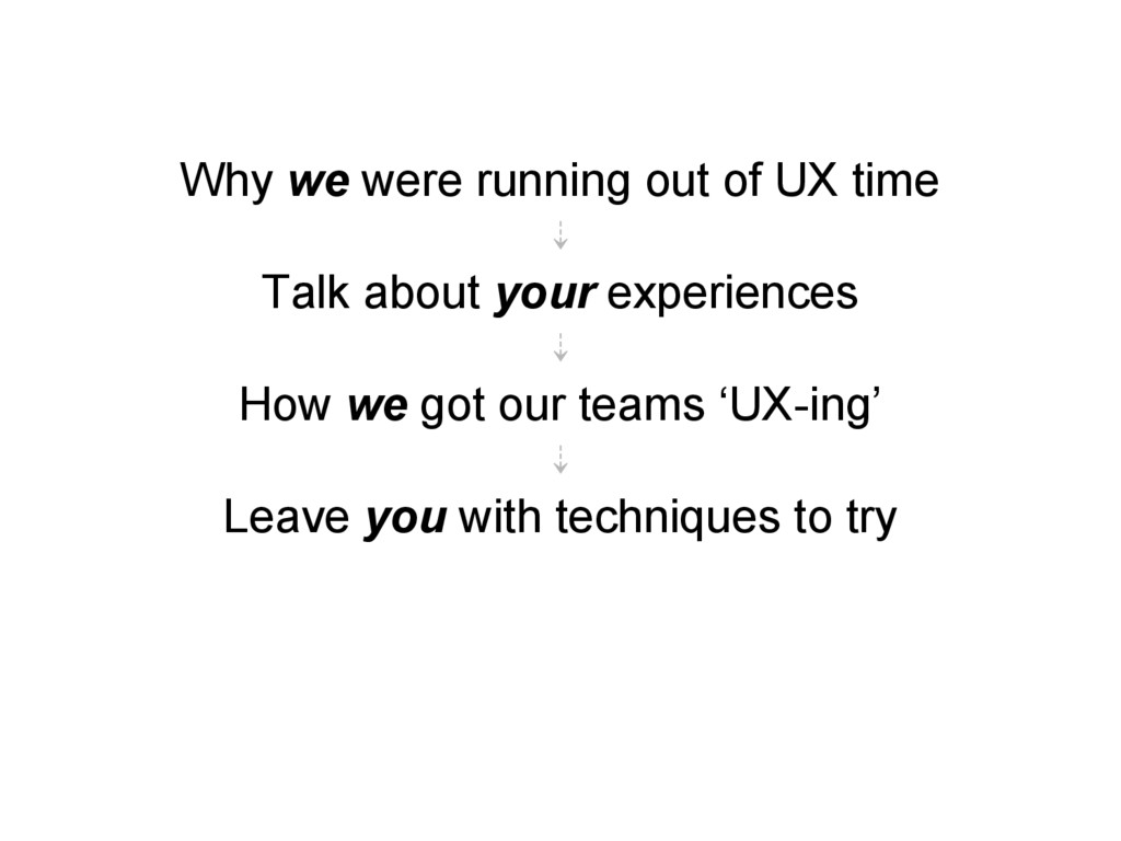 Why we were running out of UX time ⇣ Talk about...