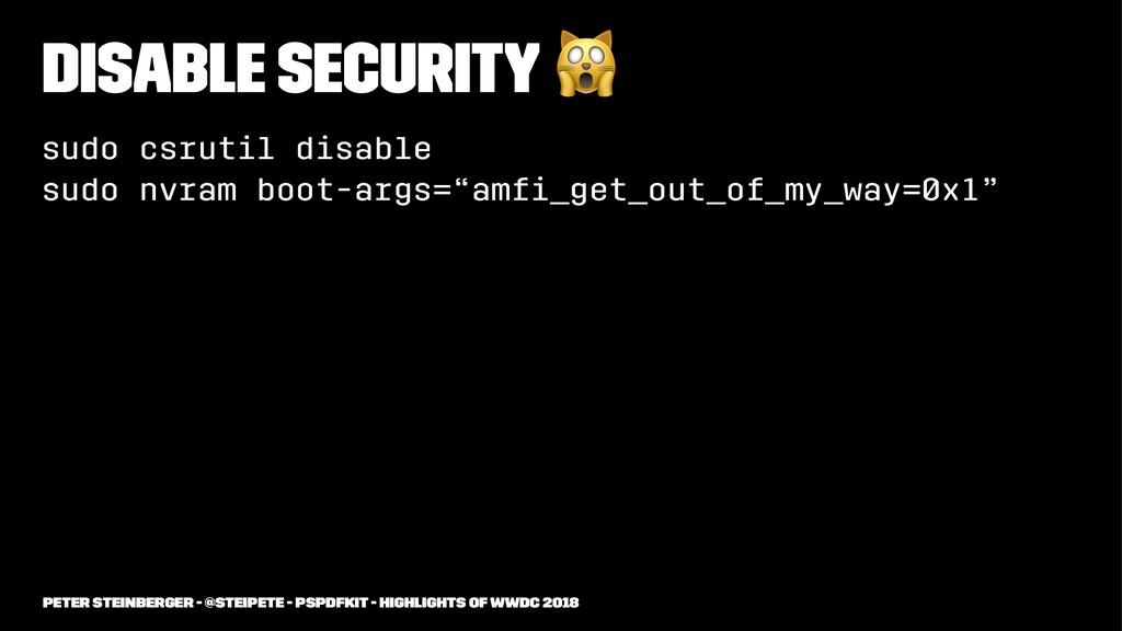Disable Security ! sudo csrutil disable sudo nv...