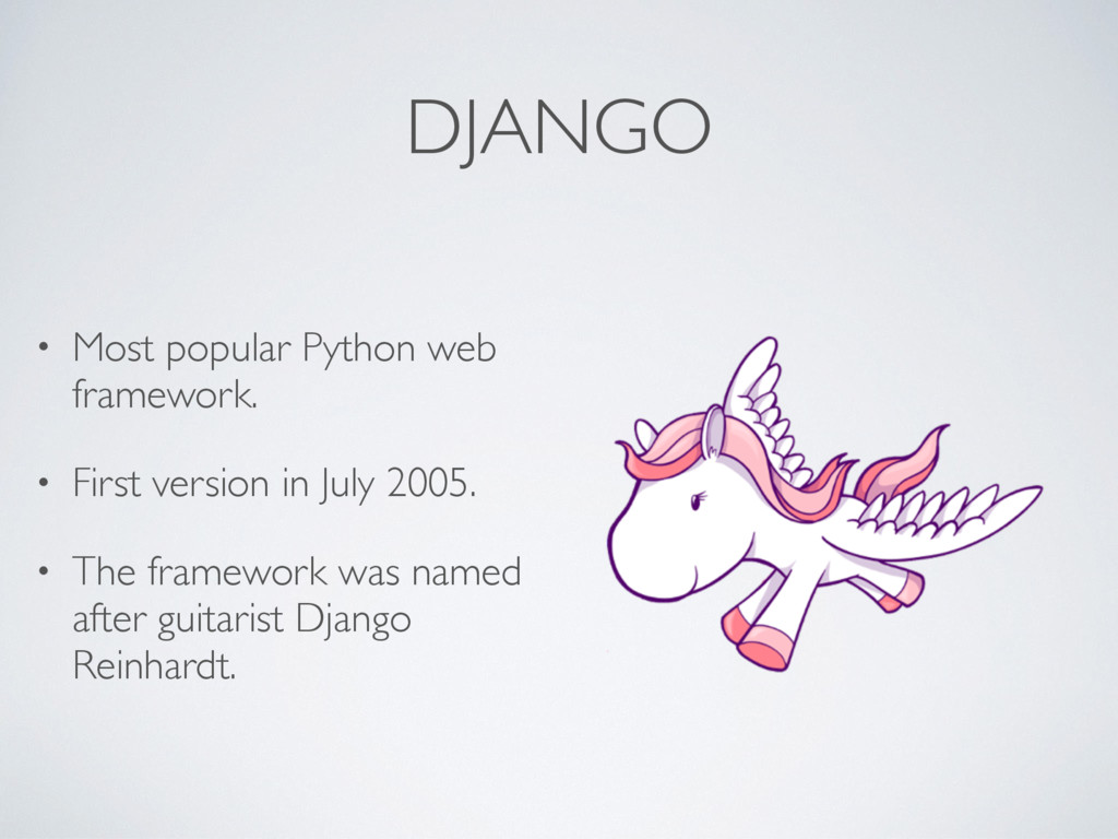 DJANGO • Most popular Python web framework. • F...