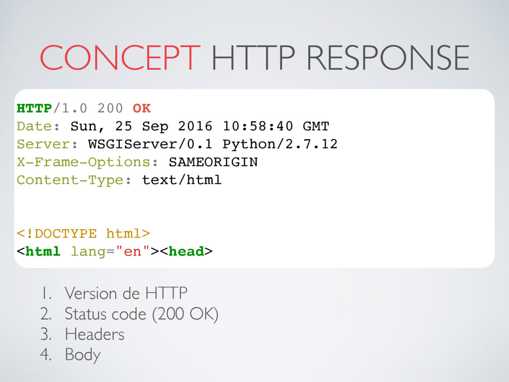 CONCEPT HTTP RESPONSE HTTP/1.0 200 OK Date: Sun...