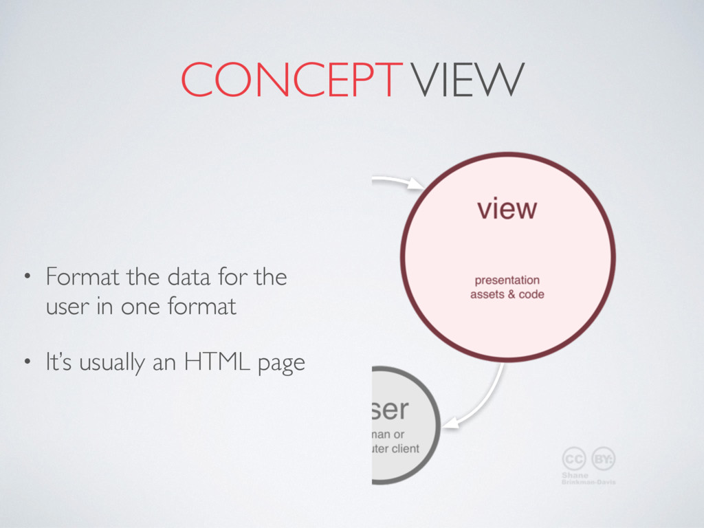 CONCEPT VIEW • Format the data for the user in ...