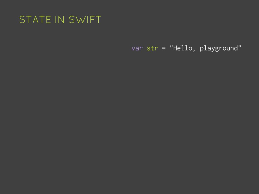 """STATE IN SWIFT var str = """"Hello, playground"""""""