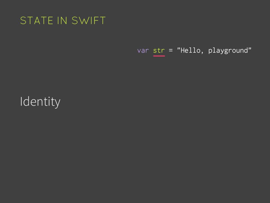 "Identity Value Time STATE IN SWIFT var str = ""H..."