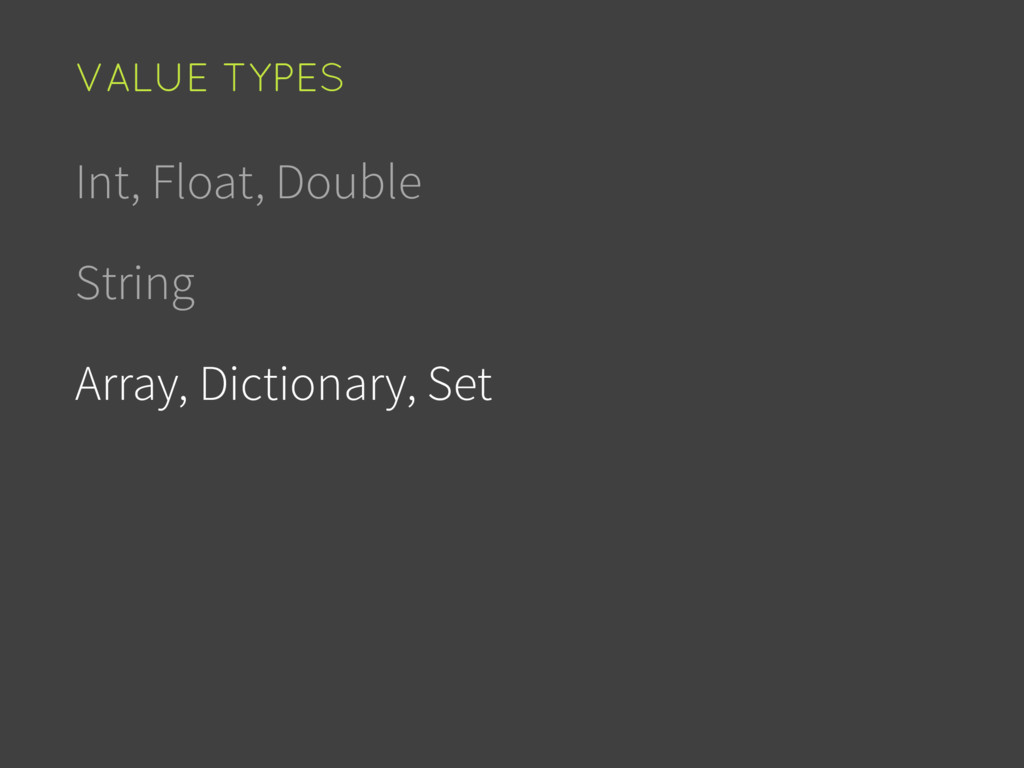 Int, Float, Double String Array, Dictionary, Se...