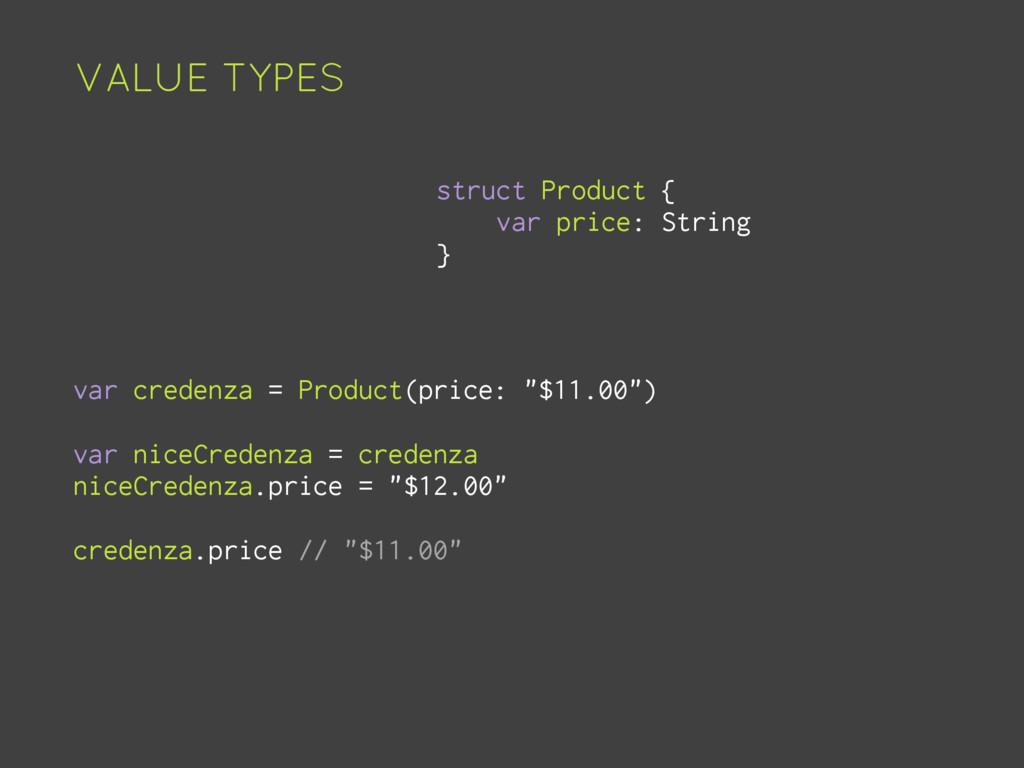 VALUE TYPES struct Product { var price: String ...