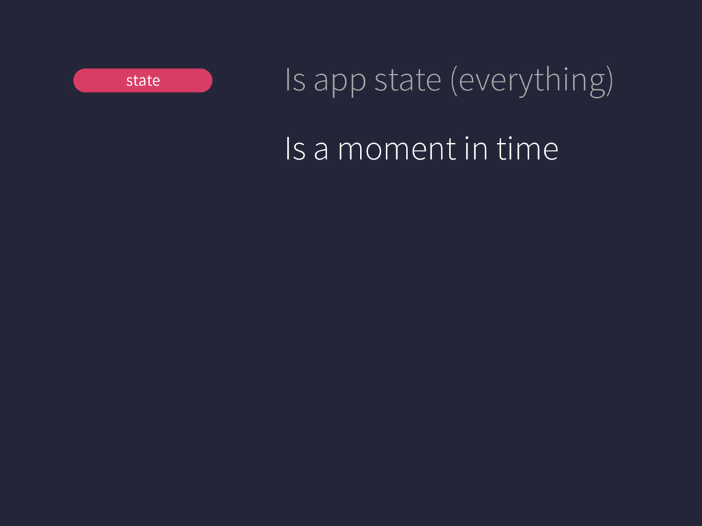 View Store state Is app state (everything) Is a...