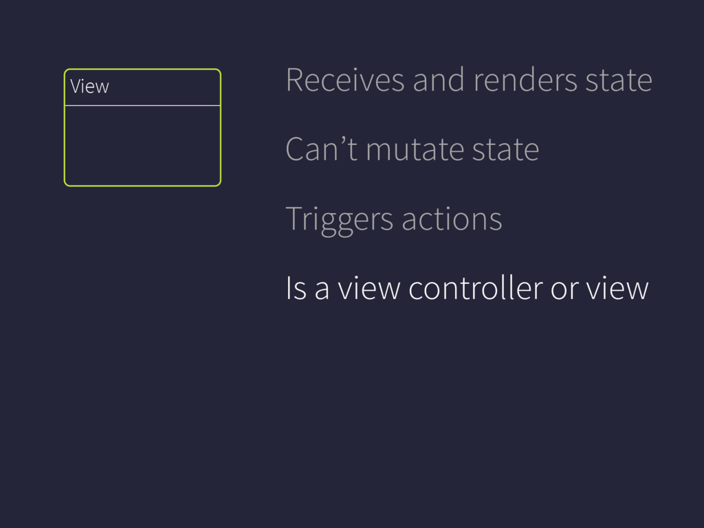 View Receives and renders state Can't mutate st...