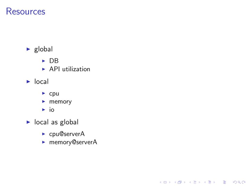 Resources global DB API utilization local cpu m...