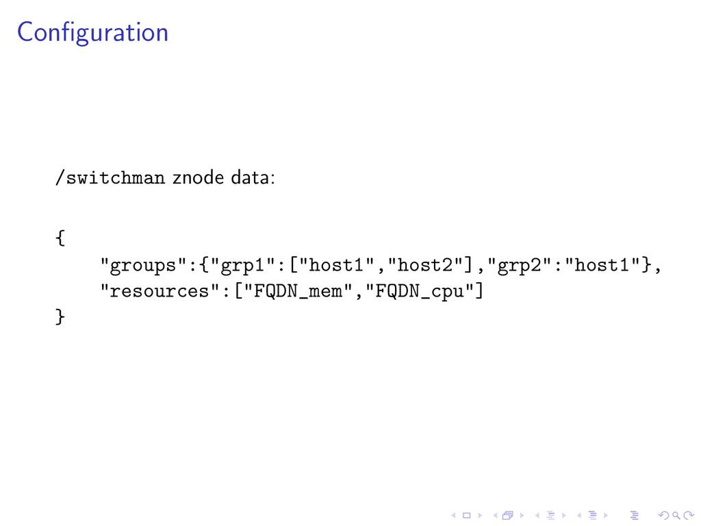 "Configuration /switchman znode data: { ""groups"":..."