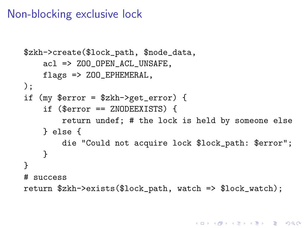 Non-blocking exclusive lock $zkh->create($lock_...