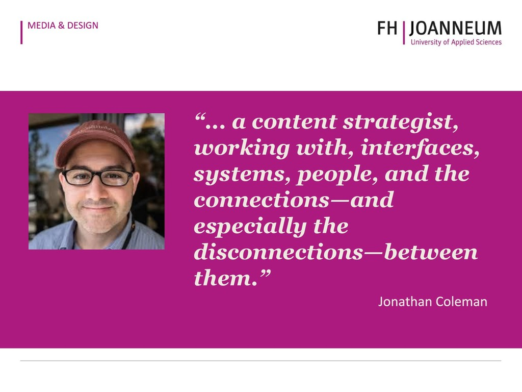 """""""... a content strategist, working with, interf..."""