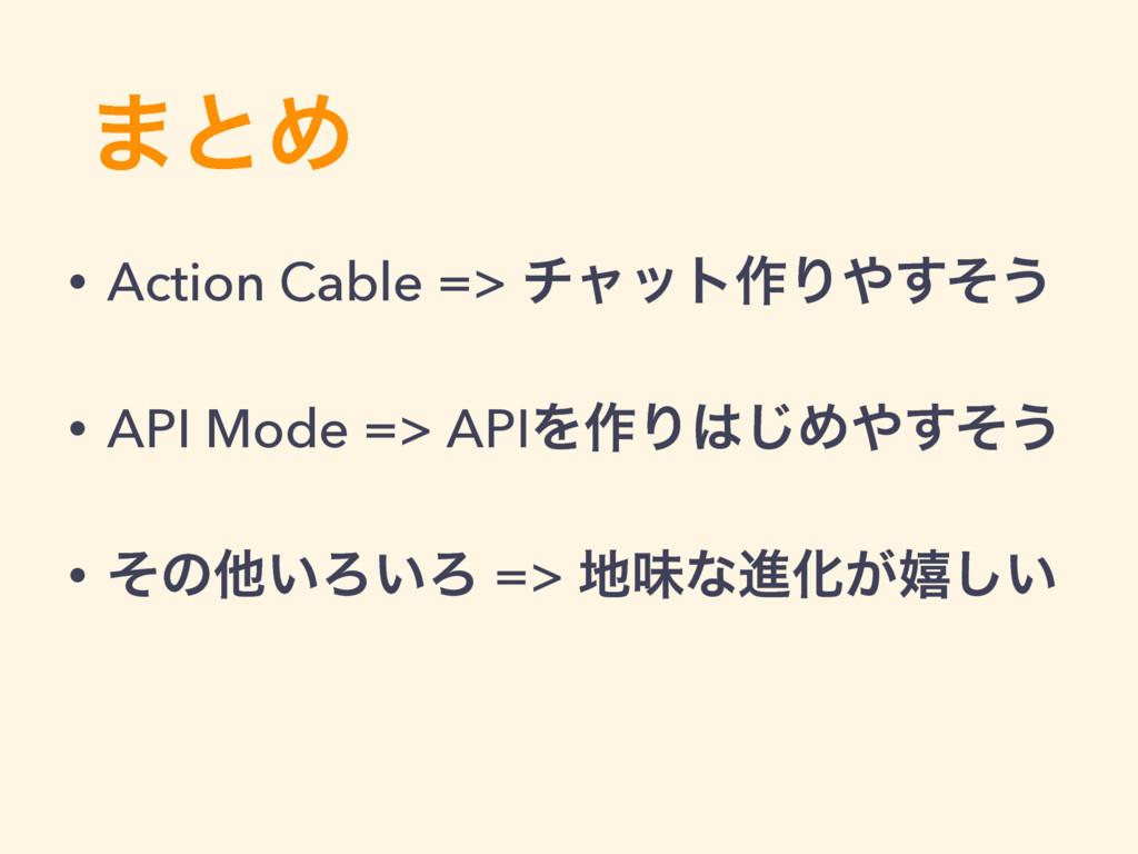 ·ͱΊ • Action Cable => νϟοτ࡞Γͦ͢͏ • API Mode => ...