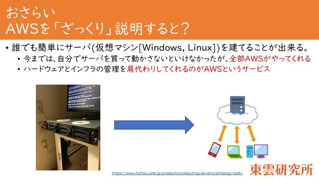 おさらい AWSを「ざっくり」説明すると? • 誰でも簡単にサーバ(仮想マシン[Windows...
