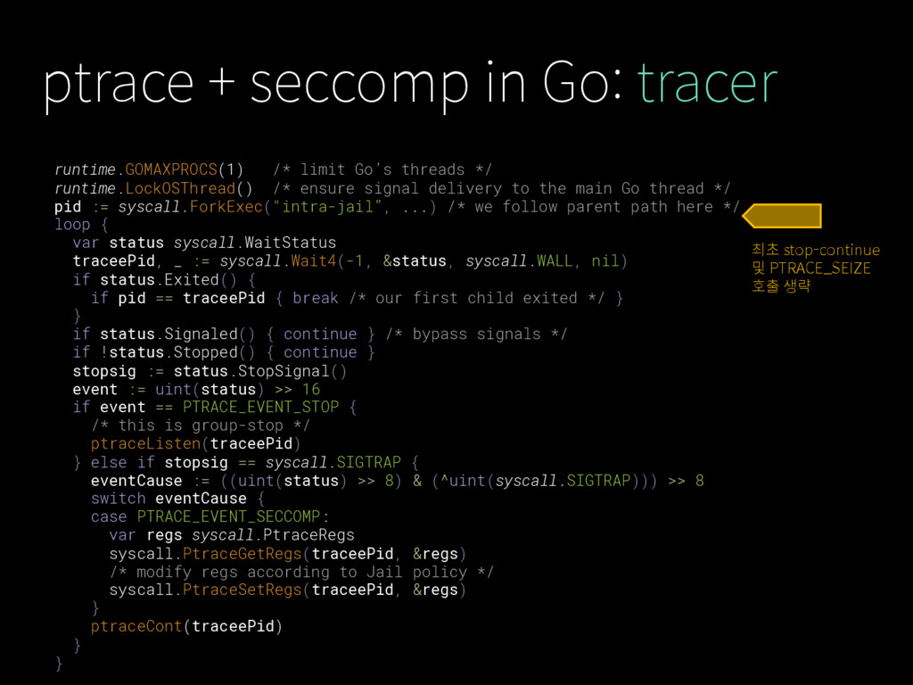 ptrace + seccomp in Go: tracer runtime.GOMAXPRO...