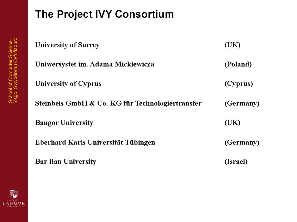 School of Computer Science Ysgol Gwyddorau Cyfr...