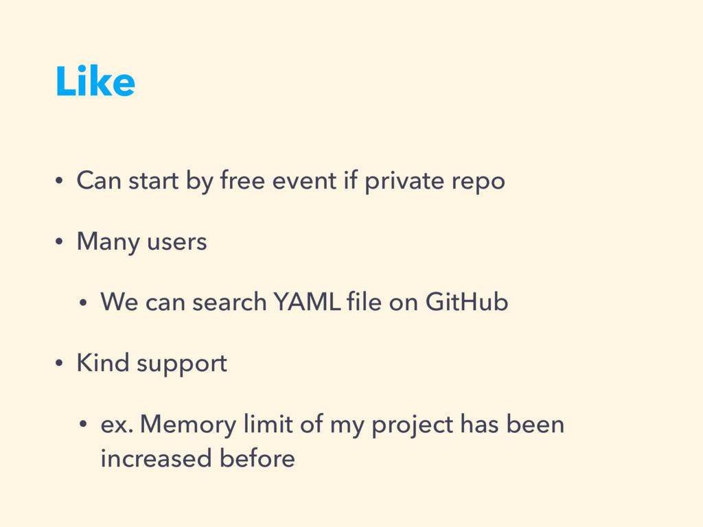 Like • Can start by free event if private repo ...