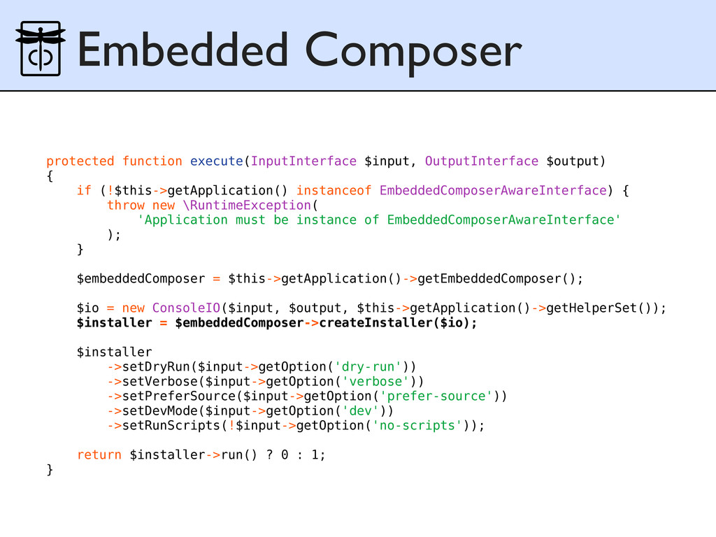 Embedded Composer protected function execute(In...