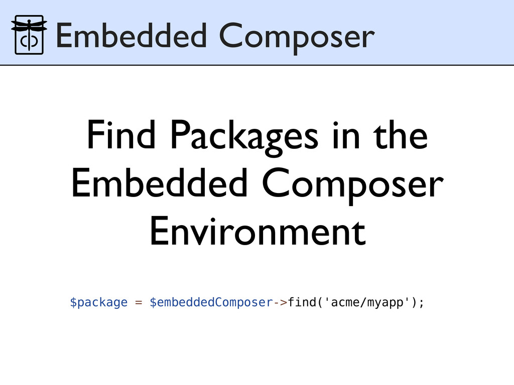 Find Packages in the Embedded Composer Environm...