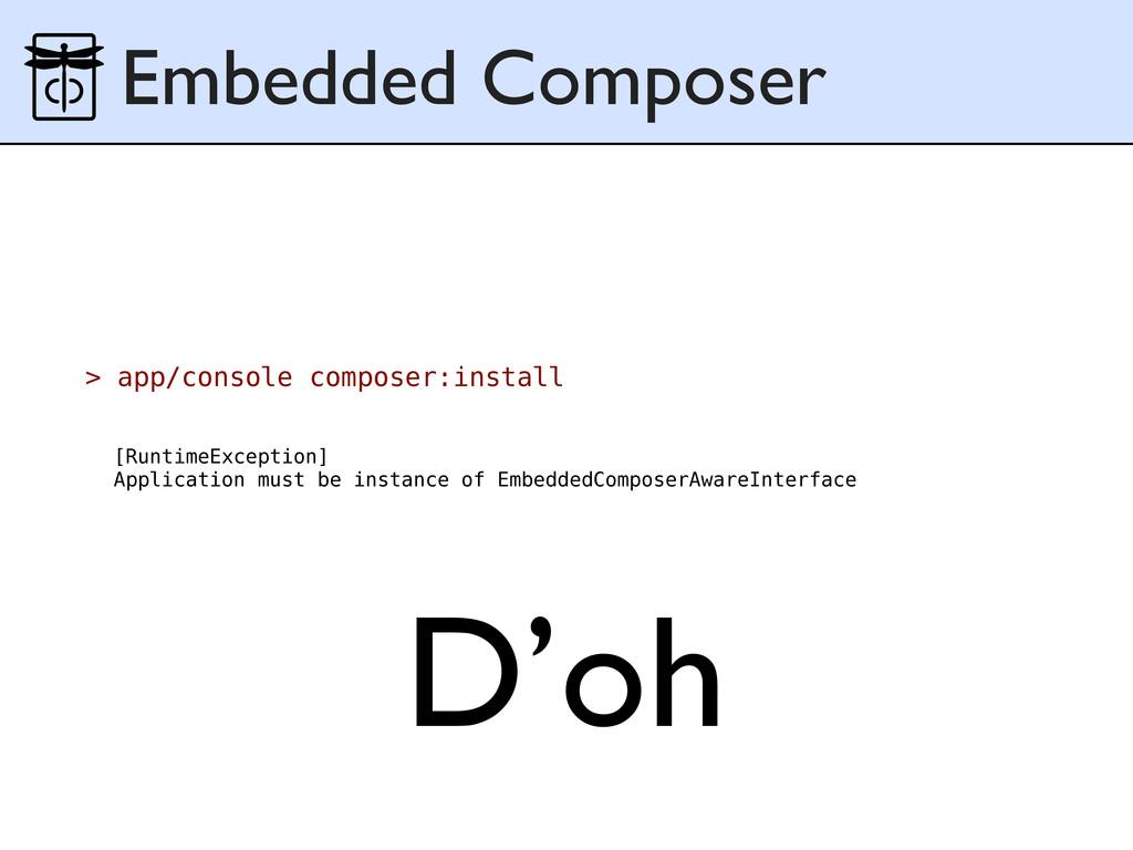 Embedded Composer > app/console composer:instal...