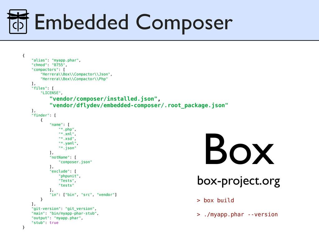 "Embedded Composer { ""alias"": ""myapp.phar"", ""chm..."