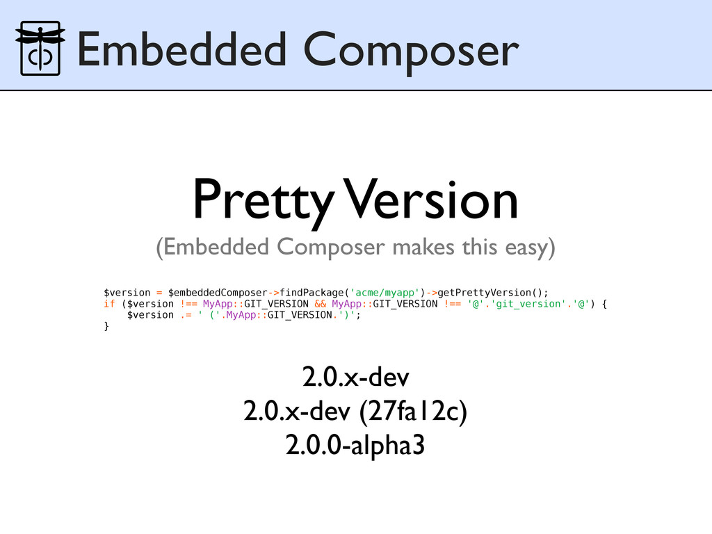 Embedded Composer $version = $embeddedComposer-...