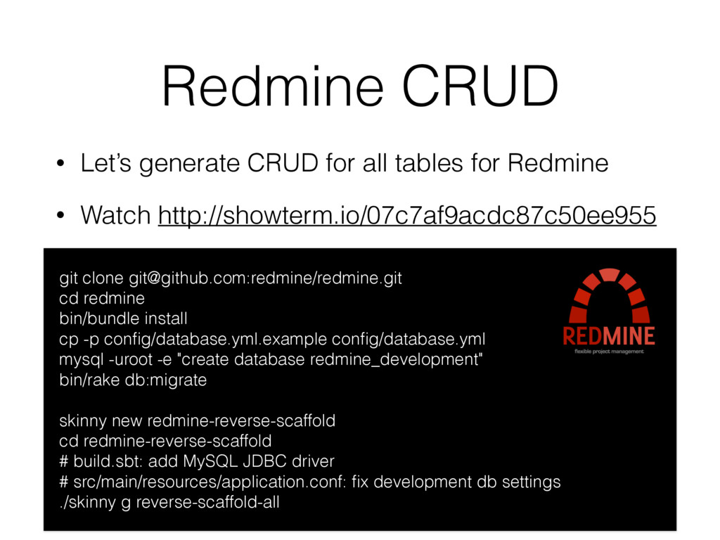 Redmine CRUD • Let's generate CRUD for all tabl...