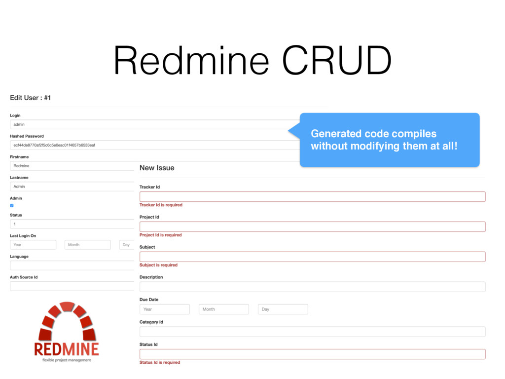 Redmine CRUD Generated code compiles without mo...
