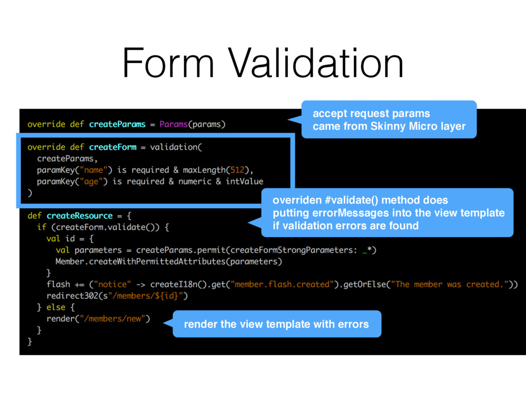 Form Validation render the view template with e...