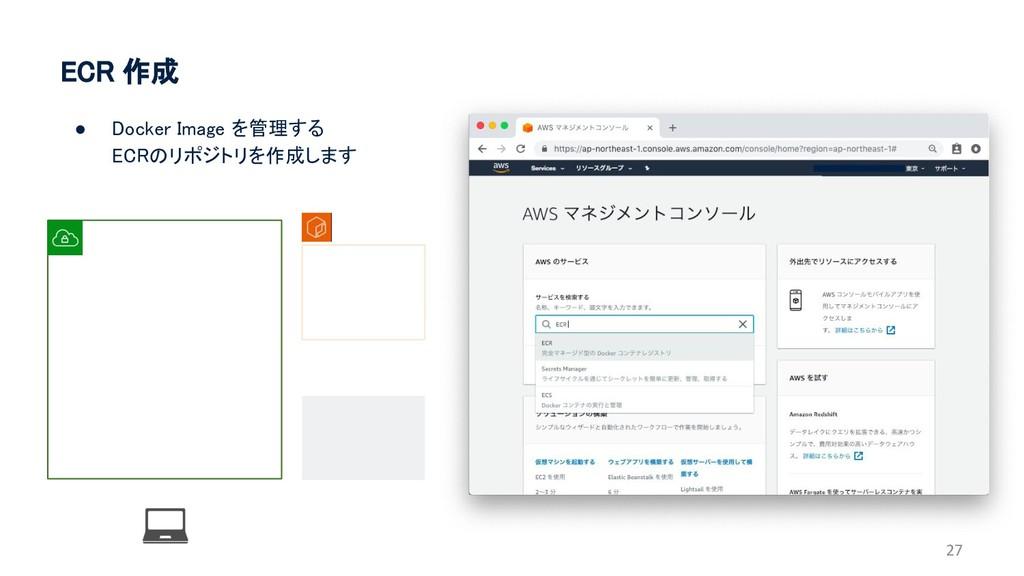ECR 作成 27 ● Docker Image を管理する ECRのリポジトリを作成します