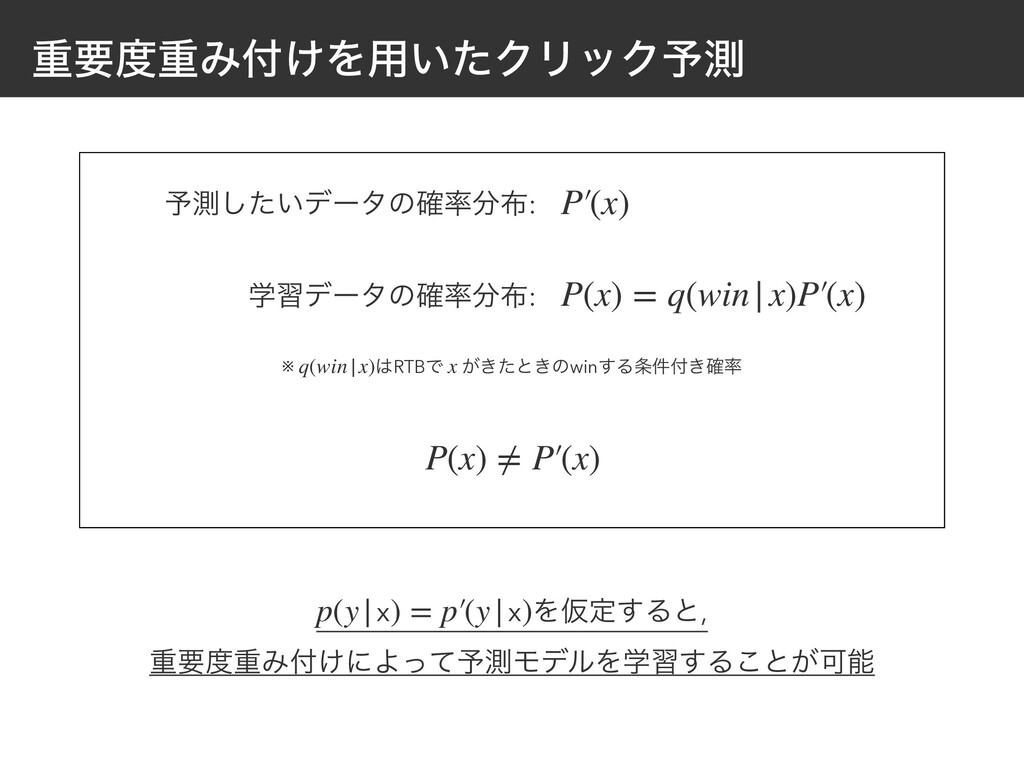 ॏཁॏΈ͚Λ༻͍ͨΫϦοΫ༧ଌ P(x) ≠ P′(x) ※ RTBͰ ͕͖ͨͱ͖ͷwi...