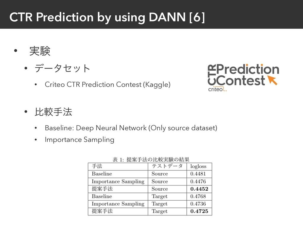 CTR Prediction by using DANN [6] • ࣮ݧ • σʔληοτ ...